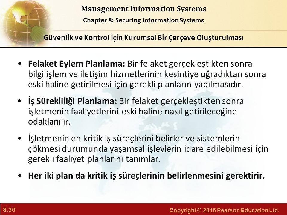 8.30 Copyright © 2016 Pearson Education Ltd. Management Information Systems Chapter 8: Securing Information Systems Felaket Eylem Planlama: Bir felake