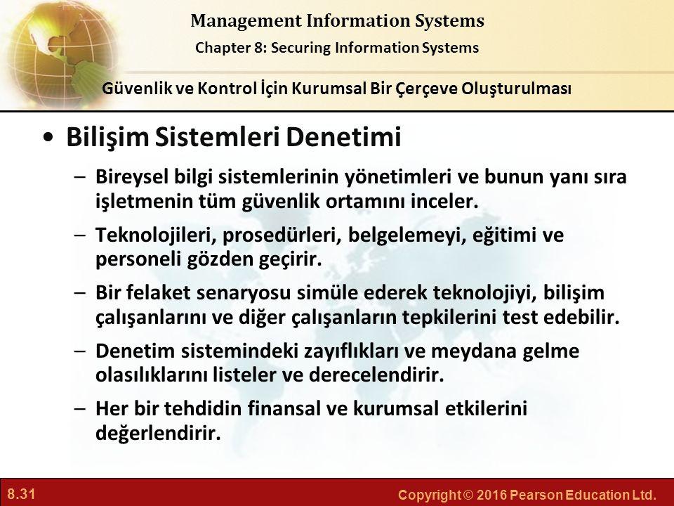 8.31 Copyright © 2016 Pearson Education Ltd. Management Information Systems Chapter 8: Securing Information Systems Bilişim Sistemleri Denetimi –Birey