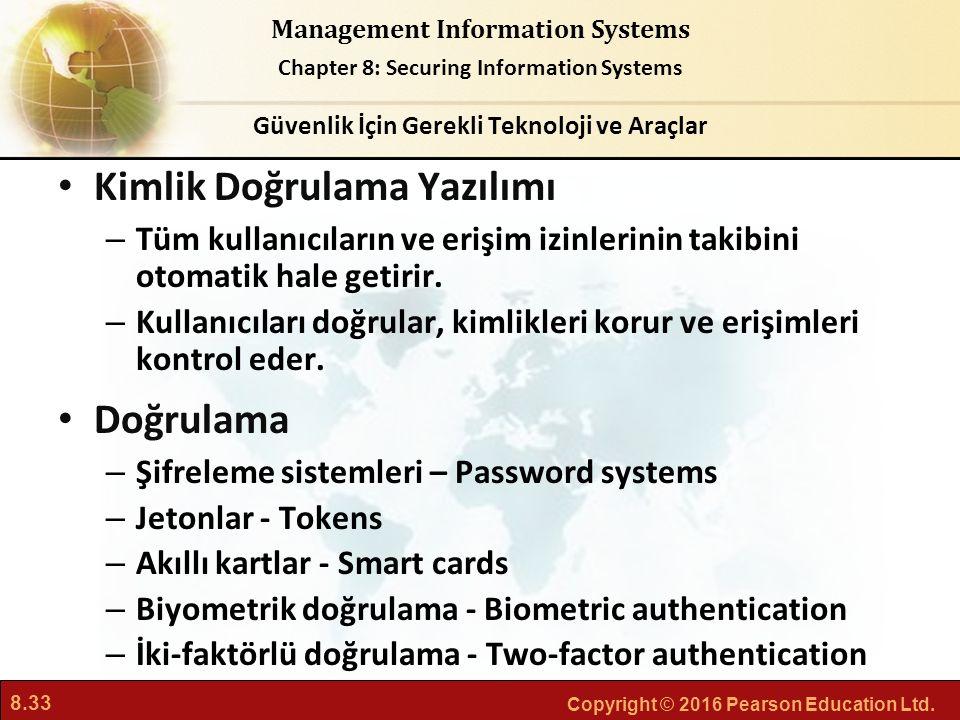 8.33 Copyright © 2016 Pearson Education Ltd. Management Information Systems Chapter 8: Securing Information Systems Kimlik Doğrulama Yazılımı – Tüm ku