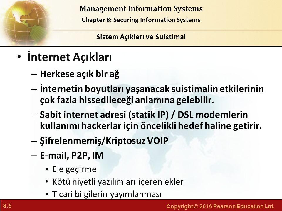 8.5 Copyright © 2016 Pearson Education Ltd. Management Information Systems Chapter 8: Securing Information Systems İnternet Açıkları – Herkese açık bi