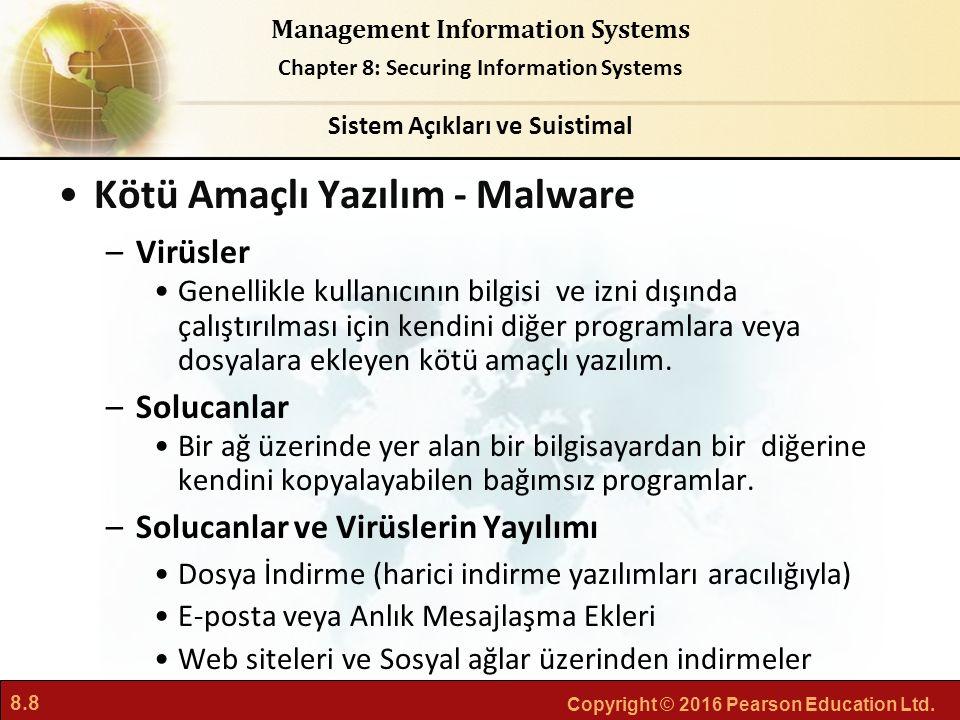 8.8 Copyright © 2016 Pearson Education Ltd. Management Information Systems Chapter 8: Securing Information Systems Kötü Amaçlı Yazılım - Malware –Virü