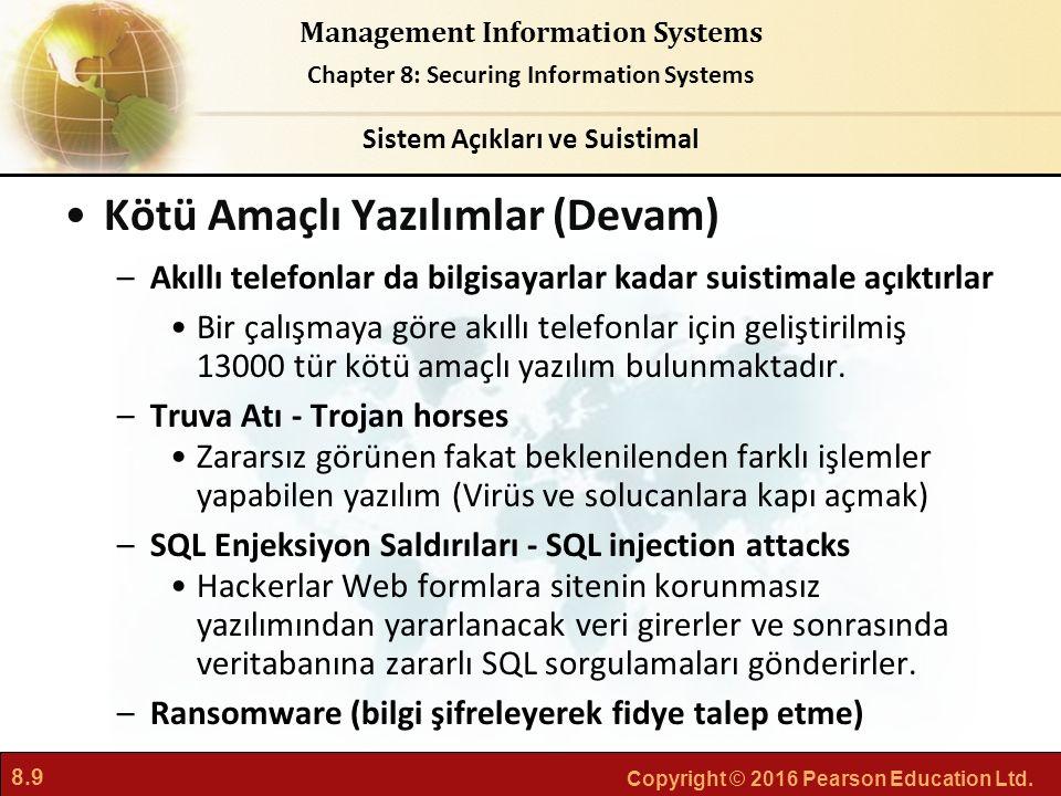 8.9 Copyright © 2016 Pearson Education Ltd. Management Information Systems Chapter 8: Securing Information Systems Kötü Amaçlı Yazılımlar (Devam) –Akı