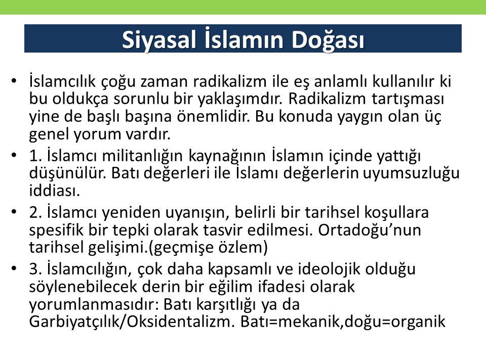 Siyasal İslamın Doğası İslamcılık çoğu zaman radikalizm ile eş anlamlı kullanılır ki bu oldukça sorunlu bir yaklaşımdır. Radikalizm tartışması yine de