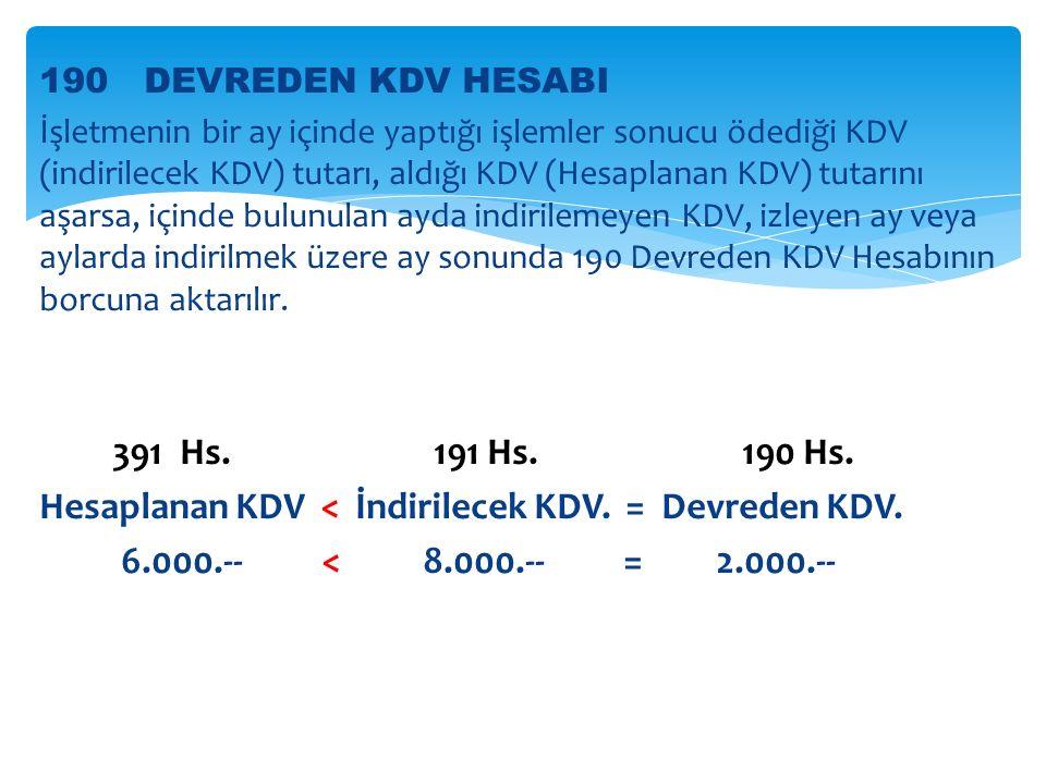 190 DEVREDEN KDV HESABI İşletmenin bir ay içinde yaptığı işlemler sonucu ödediği KDV (indirilecek KDV) tutarı, aldığı KDV (Hesaplanan KDV) tutarını aşarsa, içinde bulunulan ayda indirilemeyen KDV, izleyen ay veya aylarda indirilmek üzere ay sonunda 190 Devreden KDV Hesabının borcuna aktarılır.