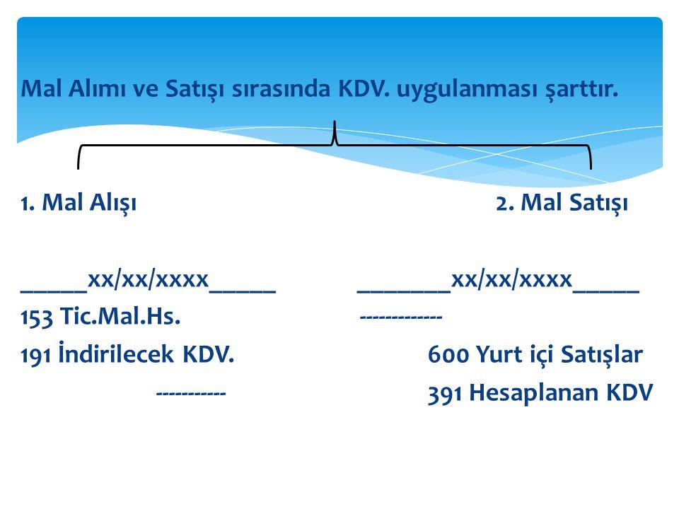 Mal Alımı ve Satışı sırasında KDV. uygulanması şarttır.