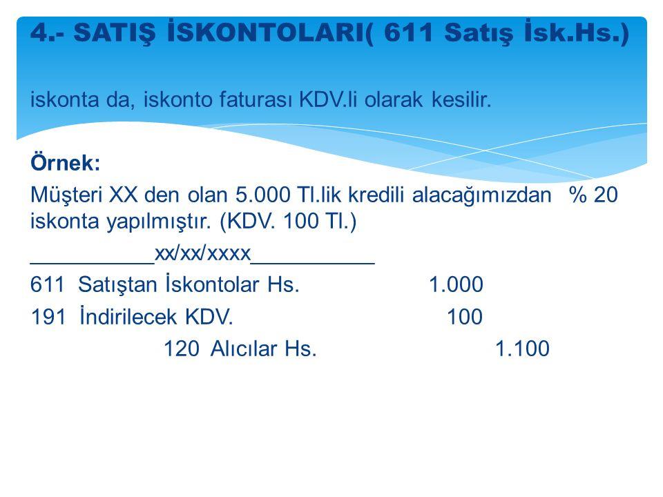 4.- SATIŞ İSKONTOLARI( 611 Satış İsk.Hs.) iskonta da, iskonto faturası KDV.li olarak kesilir.