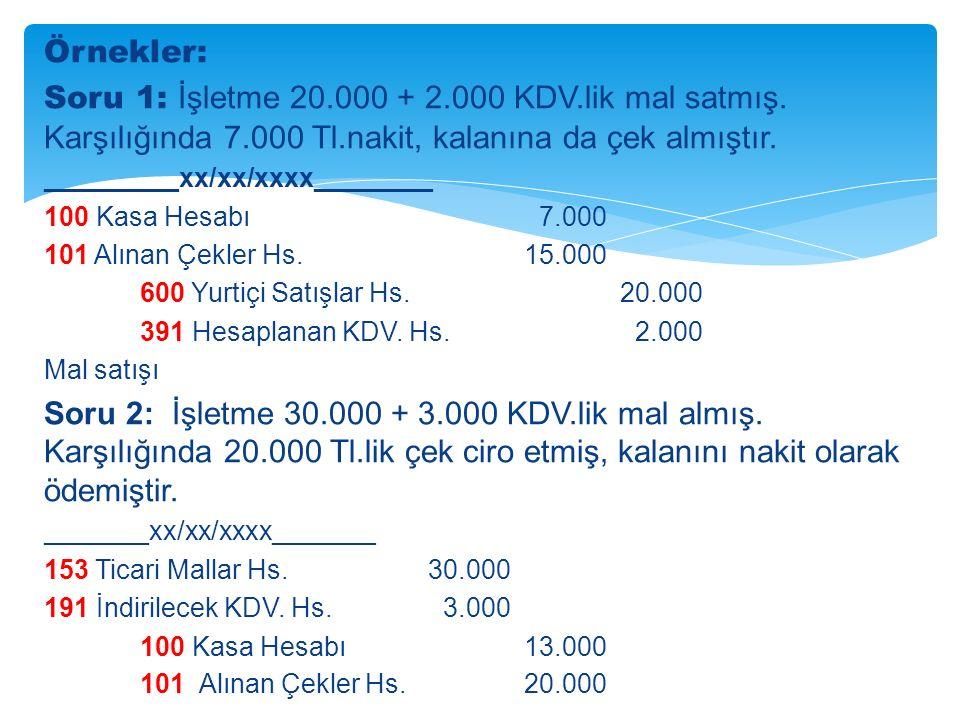 Örnekler: Soru 1: İşletme 20.000 + 2.000 KDV.lik mal satmış.