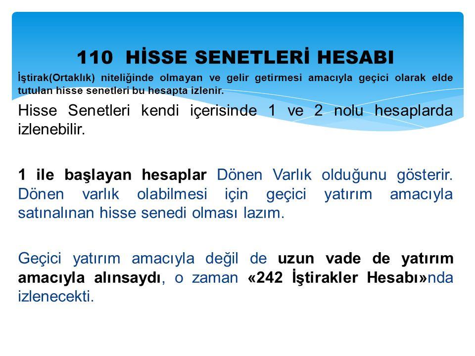 110 HİSSE SENETLERİ HESABI İştirak(Ortaklık) niteliğinde olmayan ve gelir getirmesi amacıyla geçici olarak elde tutulan hisse senetleri bu hesapta izlenir.
