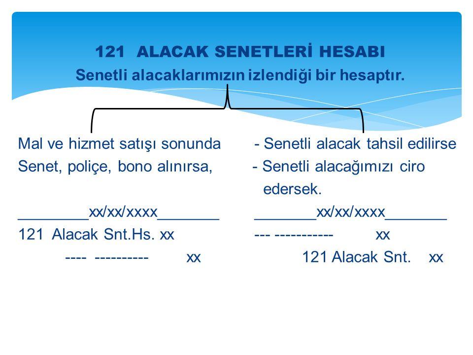 121 ALACAK SENETLERİ HESABI Senetli alacaklarımızın izlendiği bir hesaptır.