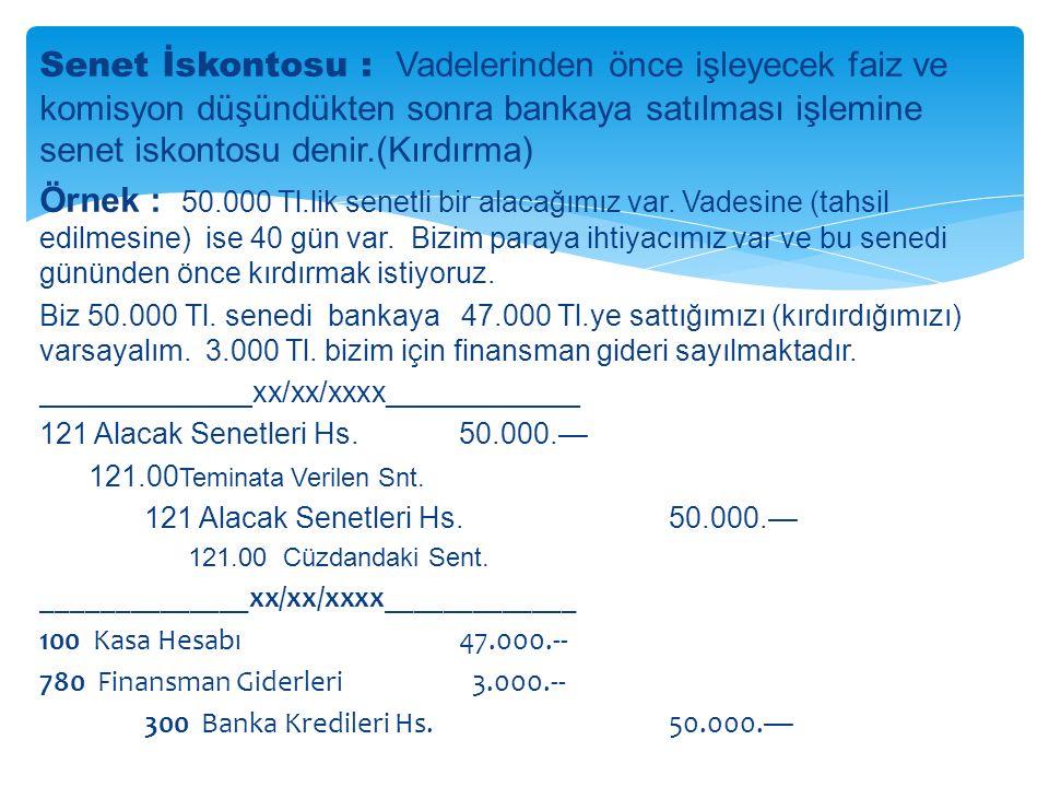 Senet İskontosu : Vadelerinden önce işleyecek faiz ve komisyon düşündükten sonra bankaya satılması işlemine senet iskontosu denir.(Kırdırma) Örnek : 50.000 Tl.lik senetli bir alacağımız var.