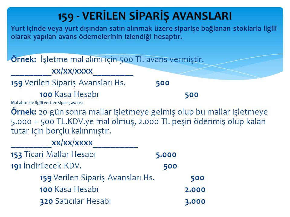 159 - VERİLEN SİPARİŞ AVANSLARI Yurt içinde veya yurt dışından satın alınmak üzere siparişe bağlanan stoklarla ilgili olarak yapılan avans ödemelerinin izlendiği hesaptır.