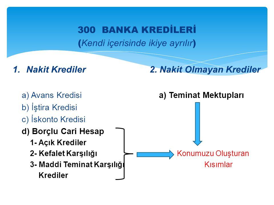 300 BANKA KREDİLERİ ( Kendi içerisinde ikiye ayrılır ) 1.Nakit Krediler2.