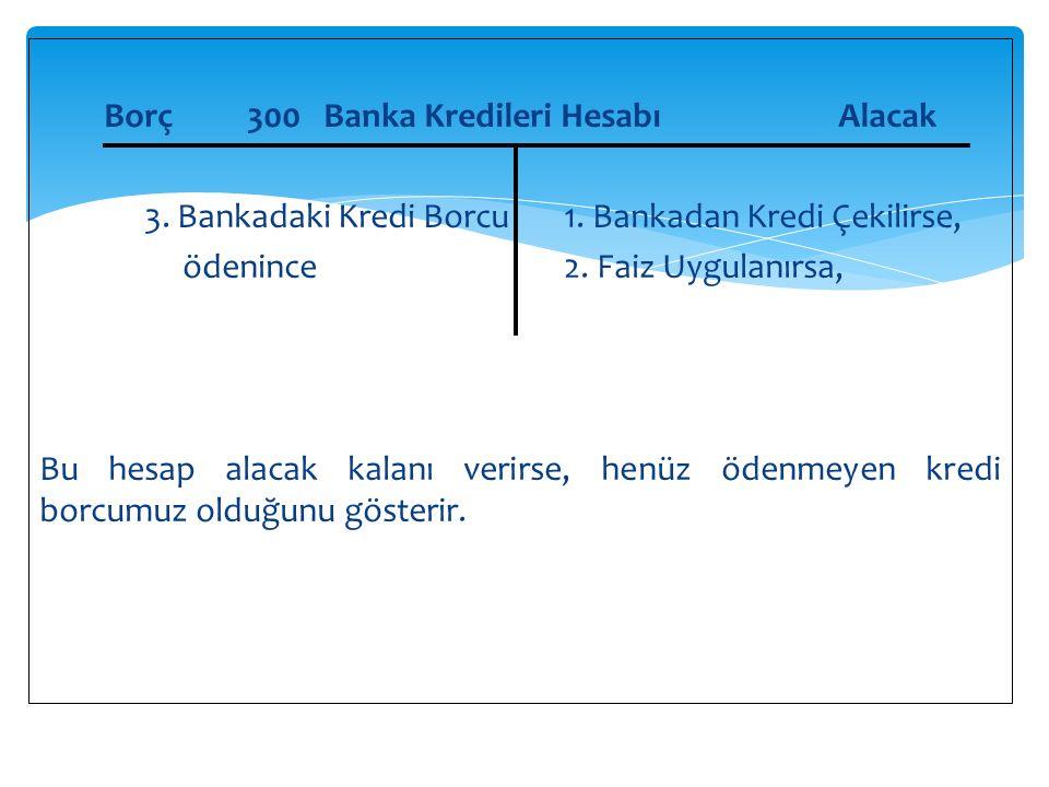 Borç 300 Banka Kredileri HesabıAlacak 3.Bankadaki Kredi Borcu1.