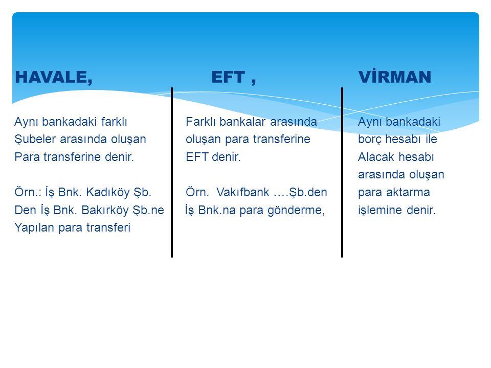 HAVALE, EFT, VİRMAN Aynı bankadaki farklı Farklı bankalar arasındaAynı bankadaki Şubeler arasında oluşan oluşan para transferineborç hesabı ile Para transferine denir.