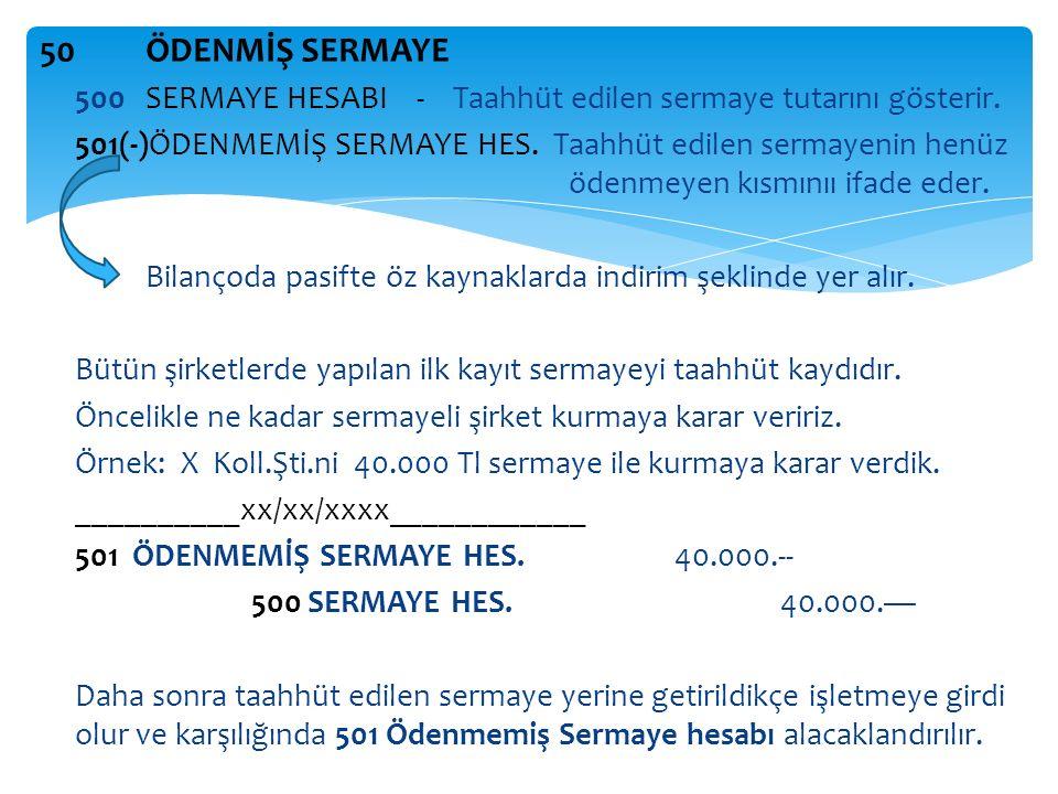 50ÖDENMİŞ SERMAYE 500 SERMAYE HESABI - Taahhüt edilen sermaye tutarını gösterir.