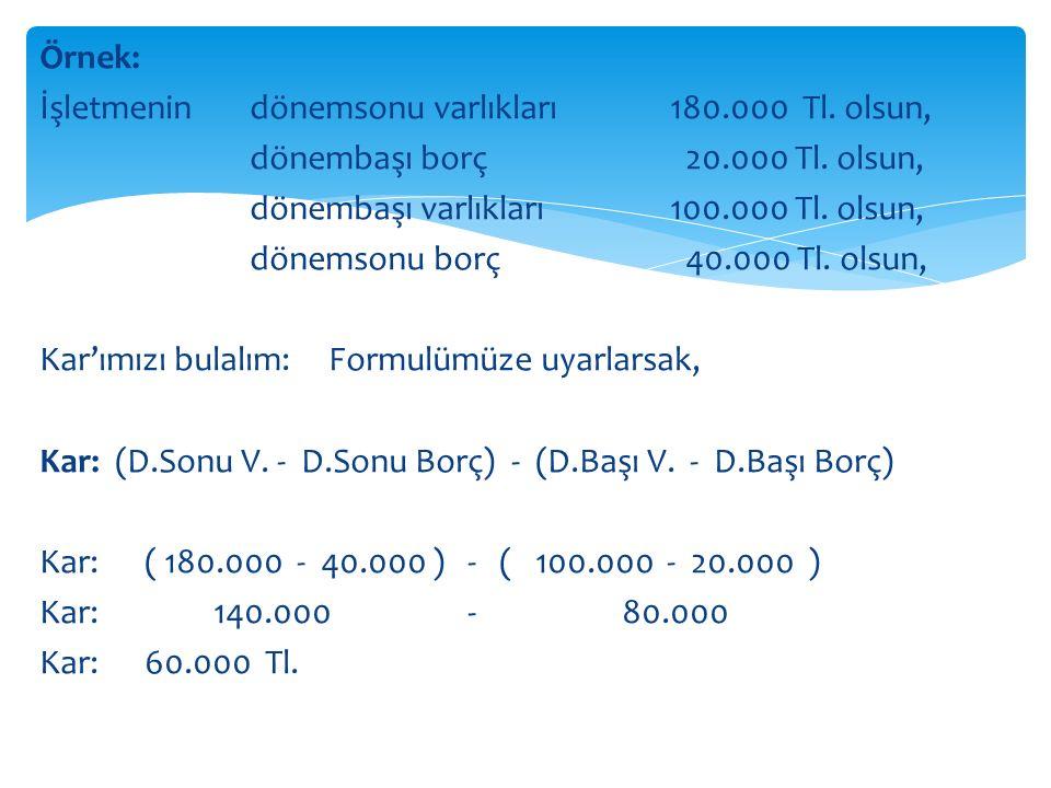 Örnek: İşletmenin dönemsonu varlıkları 180.000 Tl.
