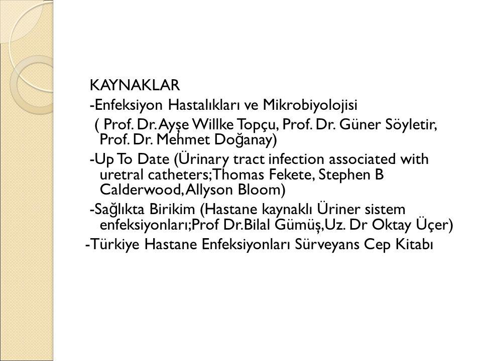 KAYNAKLAR -Enfeksiyon Hastalıkları ve Mikrobiyolojisi ( Prof. Dr. Ayşe Willke Topçu, Prof. Dr. Güner Söyletir, Prof. Dr. Mehmet Do ğ anay) -Up To Date