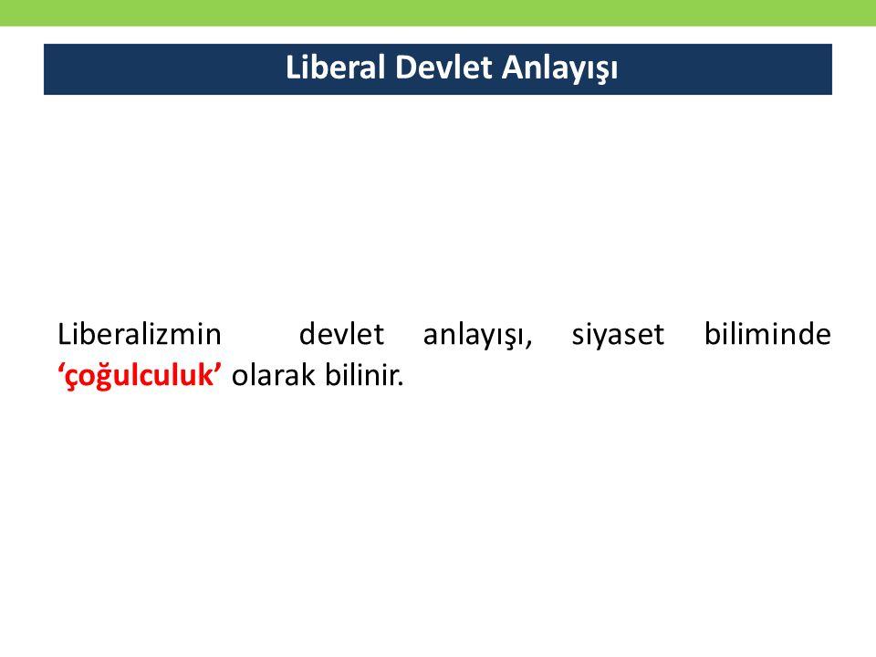 Liberal Devlet Anlayışı Liberalizmin devlet anlayışı, siyaset biliminde 'çoğulculuk' olarak bilinir.