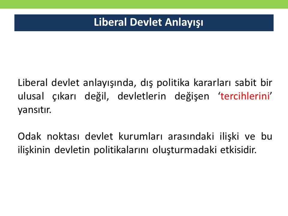 Liberal Devlet Anlayışı Liberal devlet anlayışında, dış politika kararları sabit bir ulusal çıkarı değil, devletlerin değişen 'tercihlerini' yansıtır