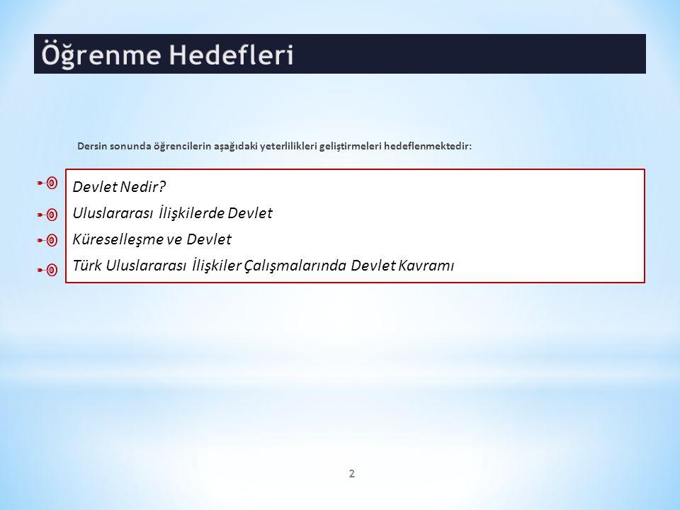 Devlet Nedir? Uluslararası İlişkilerde Devlet Küreselleşme ve Devlet Türk Uluslararası İlişkiler Çalışmalarında Devlet Kavramı 2 Dersin sonunda öğrenc