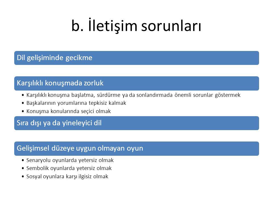 b. İletişim sorunları Dil gelişiminde gecikmeKarşılıklı konuşmada zorluk Karşılıklı konuşma başlatma, sürdürme ya da sonlandırmada önemli sorunlar gös