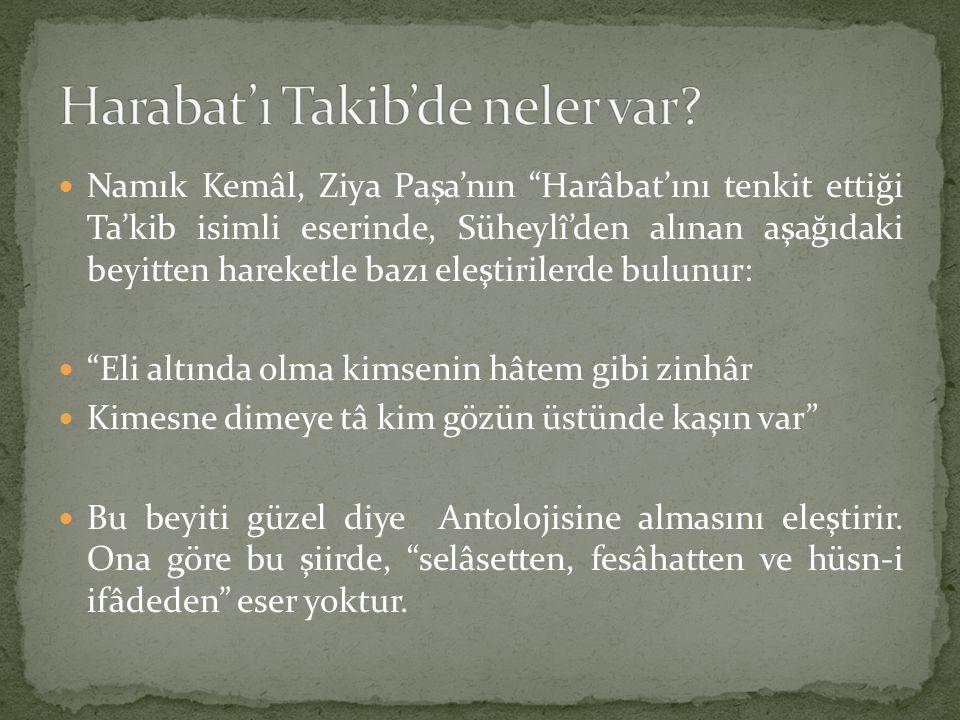 """Namık Kemâl, Ziya Paşa'nın """"Harâbat'ını tenkit ettiği Ta'kib isimli eserinde, Süheylî'den alınan aşağıdaki beyitten hareketle bazı eleştirilerde bulun"""