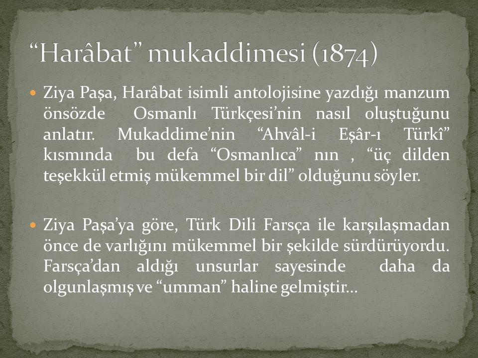 """Ziya Paşa, Harâbat isimli antolojisine yazdığı manzum önsözde Osmanlı Türkçesi'nin nasıl oluştuğunu anlatır. Mukaddime'nin """"Ahvâl-i Eşâr-ı Türkî"""" kısm"""