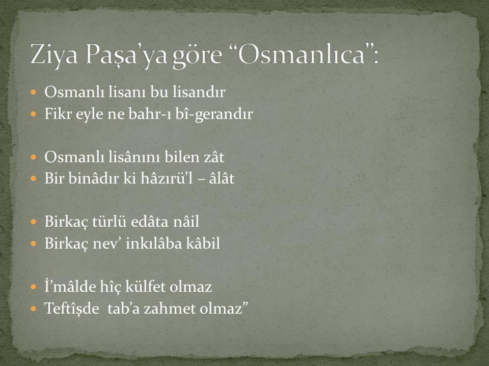 Osmanlı lisanı bu lisandır Fikr eyle ne bahr-ı bî-gerandır Osmanlı lisânını bilen zât Bir binâdır ki hâzırü'l – âlât Birkaç türlü edâta nâil Birkaç ne