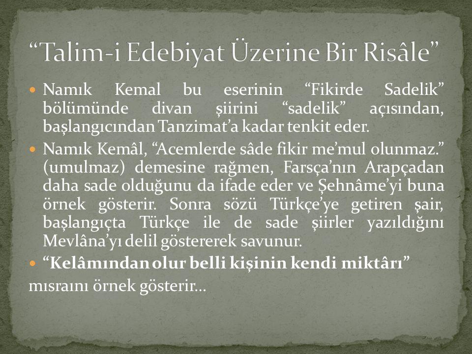 """Namık Kemal bu eserinin """"Fikirde Sadelik"""" bölümünde divan şiirini """"sadelik"""" açısından, başlangıcından Tanzimat'a kadar tenkit eder. Namık Kemâl, """"Acem"""