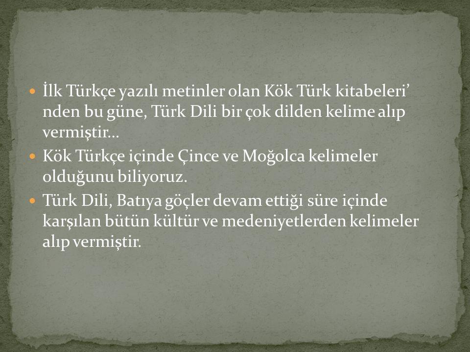 İlk Türkçe yazılı metinler olan Kök Türk kitabeleri' nden bu güne, Türk Dili bir çok dilden kelime alıp vermiştir… Kök Türkçe içinde Çince ve Moğolca