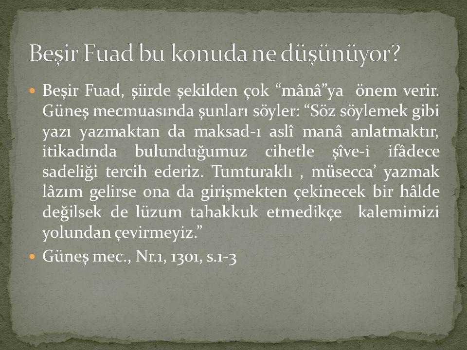 """Beşir Fuad, şiirde şekilden çok """"mânâ""""ya önem verir. Güneş mecmuasında şunları söyler: """"Söz söylemek gibi yazı yazmaktan da maksad-ı aslî manâ anlatma"""