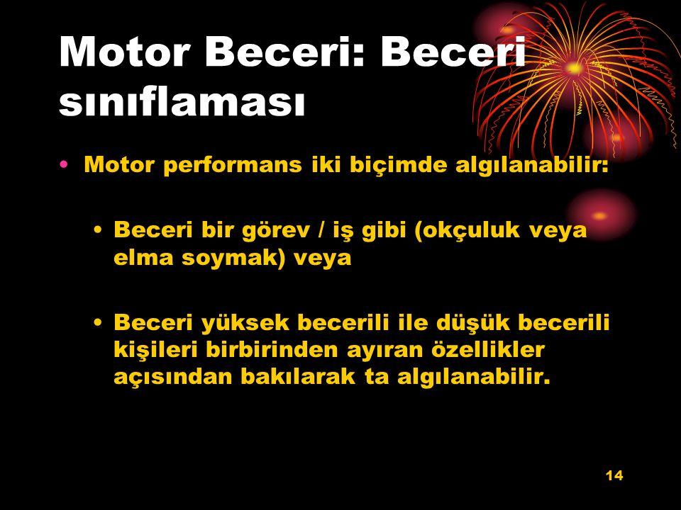 Motor Beceri: Beceri sınıflaması Motor performans iki biçimde algılanabilir: Beceri bir görev / iş gibi (okçuluk veya elma soymak) veya Beceri yüksek