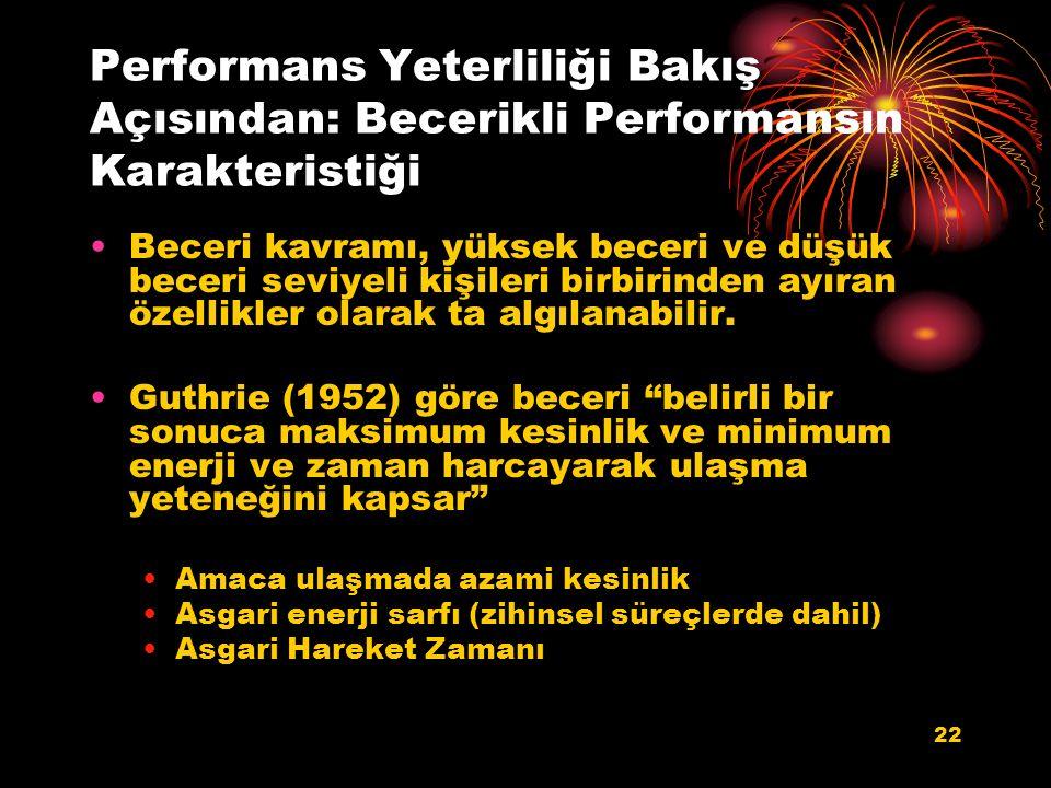 Performans Yeterliliği Bakış Açısından: Becerikli Performansın Karakteristiği Beceri kavramı, yüksek beceri ve düşük beceri seviyeli kişileri birbirin