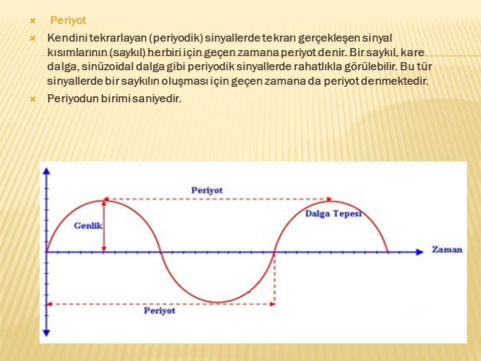  Periyot  Kendini tekrarlayan (periyodik) sinyallerde tekrarı gerçekleşen sinyal kısımlarının (saykıl) herbiri için geçen zamana periyot denir. Bir