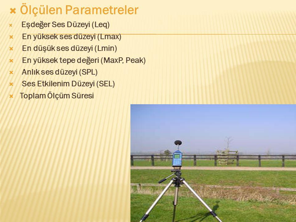  Ölçülen Parametreler  Eşdeğer Ses Düzeyi (Leq)  En yüksek ses düzeyi (Lmax)  En düşük ses düzeyi (Lmin)  En yüksek tepe değeri (MaxP, Peak)  Anlık ses düzeyi (SPL)  Ses Etkilenim Düzeyi (SEL)  Toplam Ölçüm Süresi