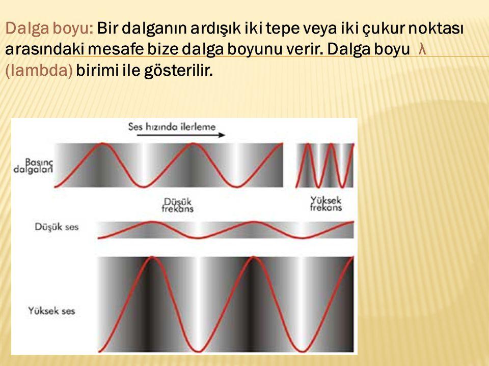 Dalga boyu: Bir dalganın ardışık iki tepe veya iki çukur noktası arasındaki mesafe bize dalga boyunu verir. Dalga boyu λ (lambda) birimi ile gösterili