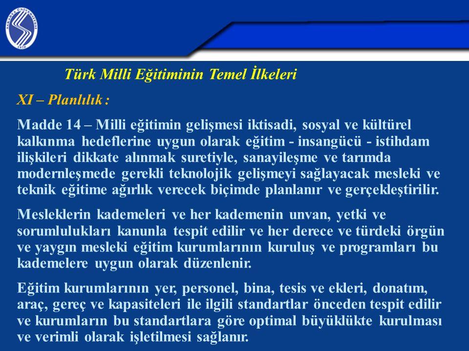 Türk Milli Eğitiminin Temel İlkeleri XI – Planlılık : Madde 14 – Milli eğitimin gelişmesi iktisadi, sosyal ve kültürel kalkınma hedeflerine uygun olar