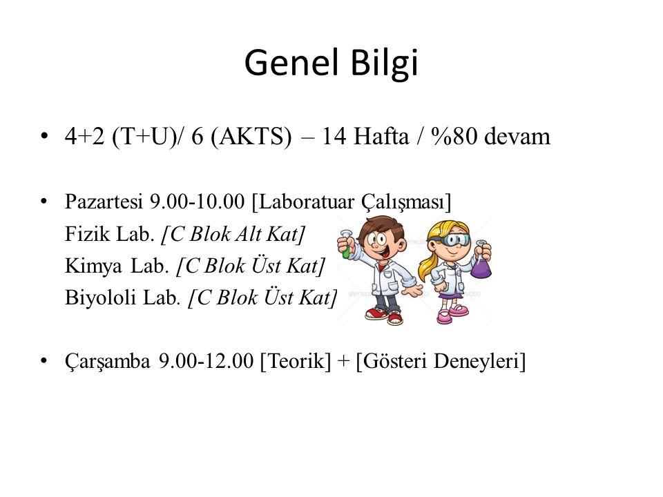 Genel Bilgi 4+2 (T+U)/ 6 (AKTS) – 14 Hafta / %80 devam Pazartesi 9.00-10.00 [Laboratuar Çalışması] Fizik Lab. [C Blok Alt Kat] Kimya Lab. [C Blok Üst