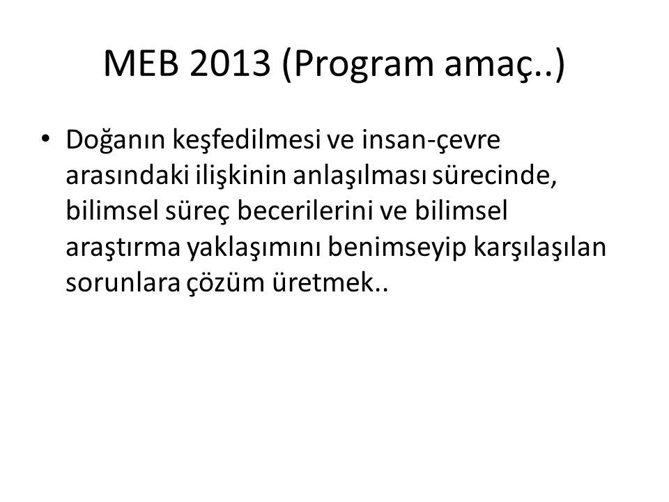 MEB 2013 (Program amaç..) Doğanın keşfedilmesi ve insan-çevre arasındaki ilişkinin anlaşılması sürecinde, bilimsel süreç becerilerini ve bilimsel araş