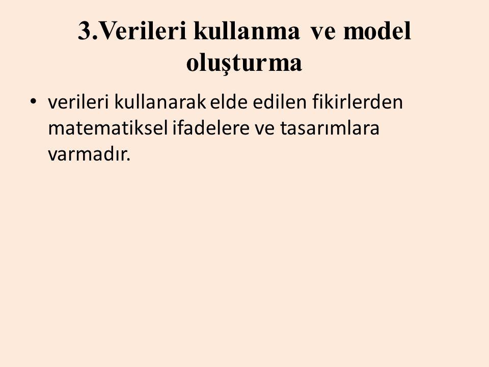3.Verileri kullanma ve model oluşturma verileri kullanarak elde edilen fikirlerden matematiksel ifadelere ve tasarımlara varmadır.