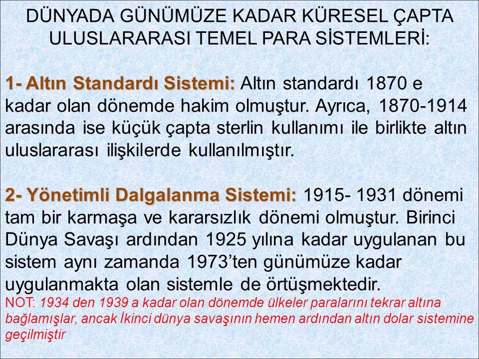 DÜNYADA GÜNÜMÜZE KADAR KÜRESEL ÇAPTA ULUSLARARASI TEMEL PARA SİSTEMLERİ: 1- Altın Standardı Sistemi: 1- Altın Standardı Sistemi: Altın standardı 1870