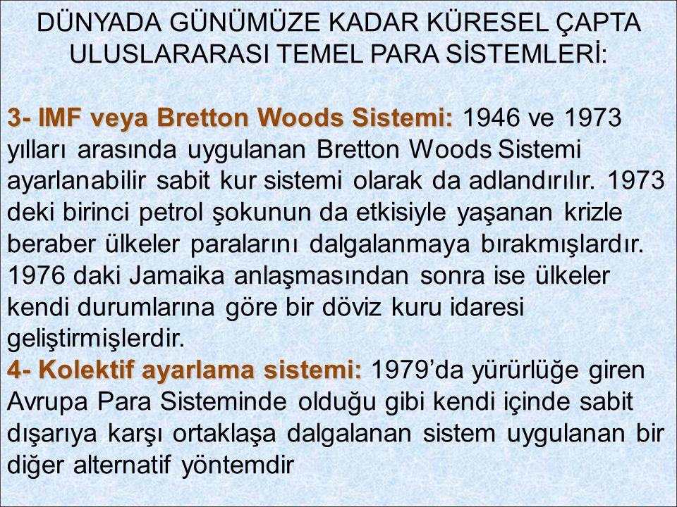 DÜNYADA GÜNÜMÜZE KADAR KÜRESEL ÇAPTA ULUSLARARASI TEMEL PARA SİSTEMLERİ: 3- IMF veya Bretton Woods Sistemi: 3- IMF veya Bretton Woods Sistemi: 1946 ve