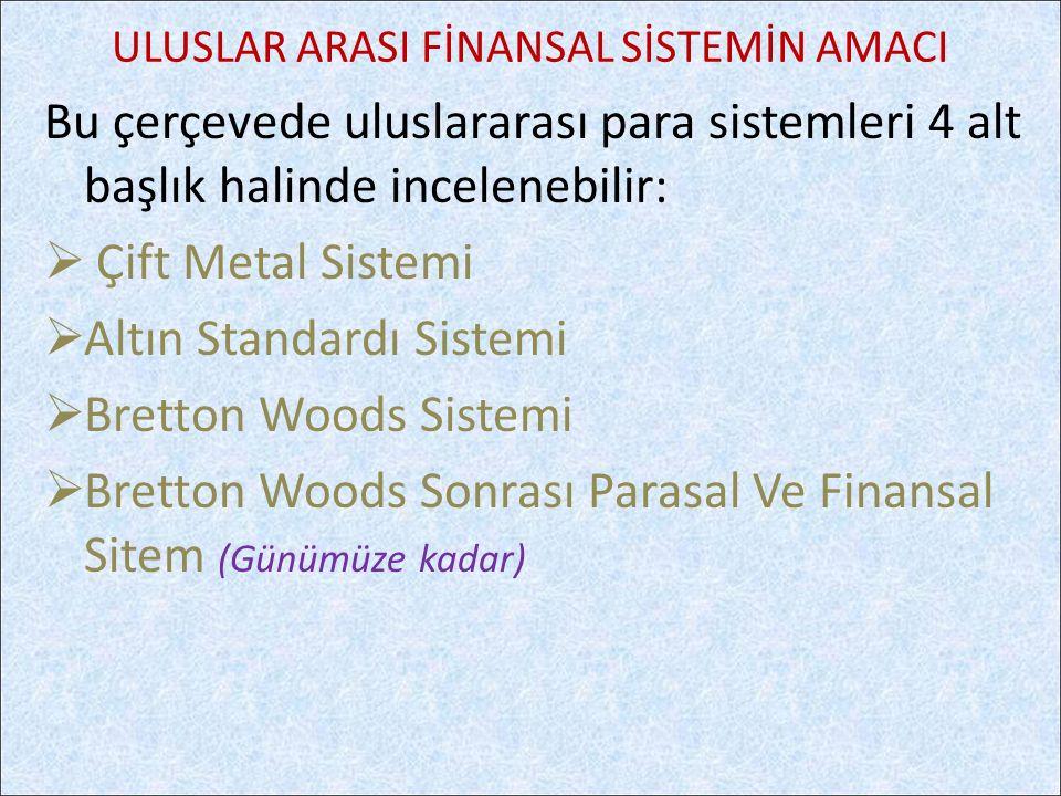 Bu çerçevede uluslararası para sistemleri 4 alt başlık halinde incelenebilir:  Çift Metal Sistemi  Altın Standardı Sistemi  Bretton Woods Sistemi 