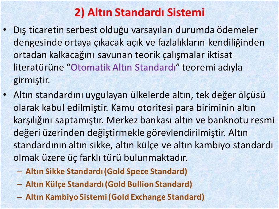 Otomatik Altın Standardı Dış ticaretin serbest olduğu varsayılan durumda ödemeler dengesinde ortaya çıkacak açık ve fazlalıkların kendiliğinden ortada