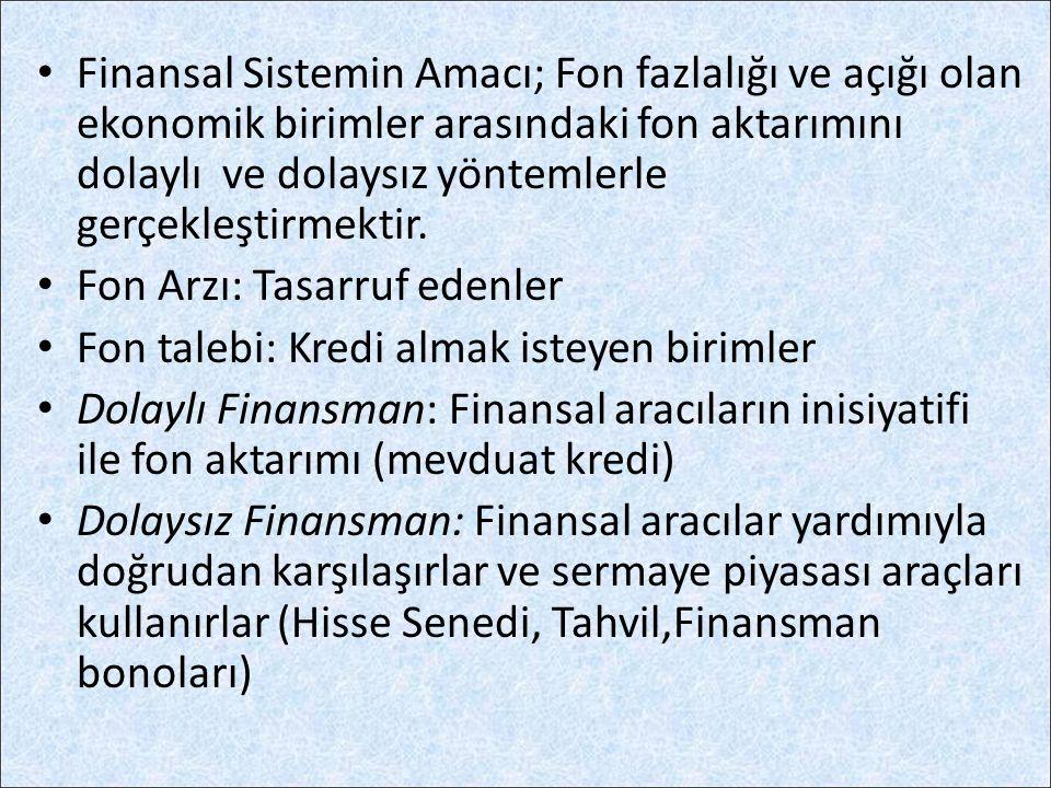 Finansal Sistemin Amacı; Fon fazlalığı ve açığı olan ekonomik birimler arasındaki fon aktarımını dolaylı ve dolaysız yöntemlerle gerçekleştirmektir. F