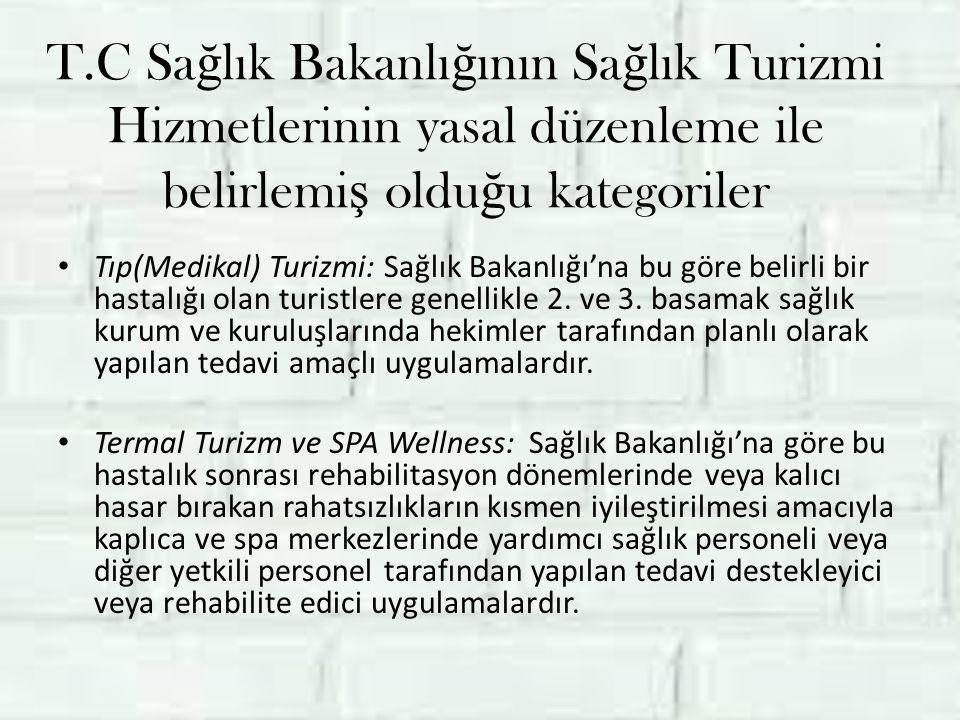 T.C Sa ğ lık Bakanlı ğ ının Sa ğ lık Turizmi Hizmetlerinin yasal düzenleme ile belirlemi ş oldu ğ u kategoriler Tıp(Medikal) Turizmi: Sağlık Bakanlığı'na bu göre belirli bir hastalığı olan turistlere genellikle 2.