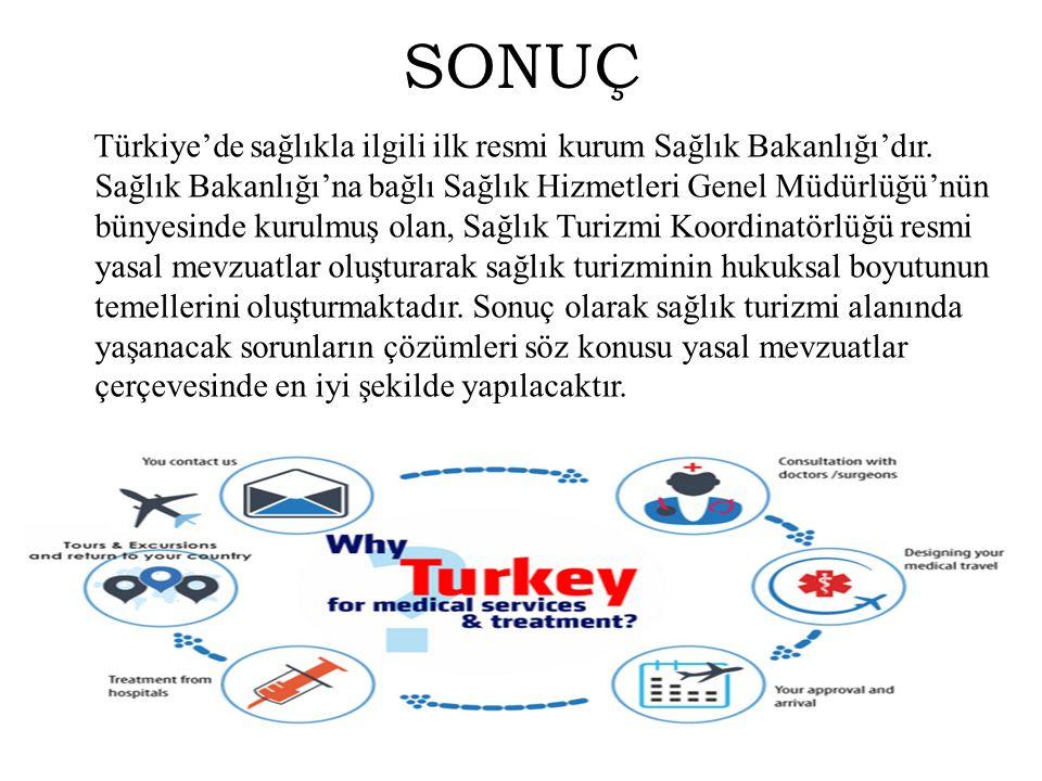 SONUÇ Türkiye'de sağlıkla ilgili ilk resmi kurum Sağlık Bakanlığı'dır. Sağlık Bakanlığı'na bağlı Sağlık Hizmetleri Genel Müdürlüğü'nün bünyesinde kuru