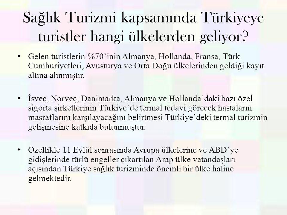 Sa ğ lık Turizmi kapsamında Türkiyeye turistler hangi ülkelerden geliyor? Gelen turistlerin %70'inin Almanya, Hollanda, Fransa, Türk Cumhuriyetleri, A