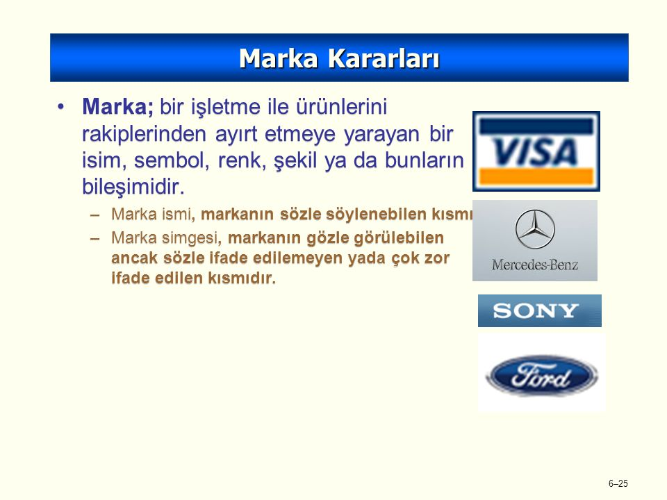 6–25 Marka; bir işletme ile ürünlerini rakiplerinden ayırt etmeye yarayan bir isim, sembol, renk, şekil ya da bunların bileşimidir.
