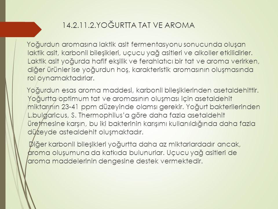 14.2.11.2.YOĞURTTA TAT VE AROMA Yoğurdun aromasına laktik asit fermentasyonu sonucunda oluşan laktik asit, karbonil bileşikleri, uçucu yağ asitleri ve alkoller etkilidirler.